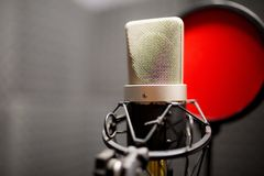 Professional microphone in the recording studio. royalty free stock photo