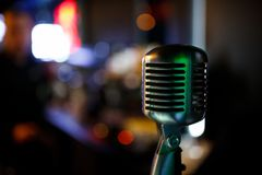 Professional microphone for singing in karaoke. Copyspace royalty free stock photos