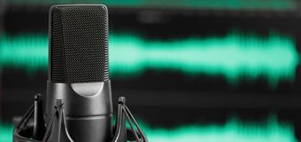 Professional microphone. Sound recording concept. royalty free stock photography