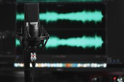 Professional microphone. Sound recording concept. stock photography