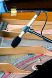Professional microphone standing above strings of grand piano Royalty Free Stock Image