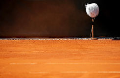 Professional microphone on a tennis court Stock Images