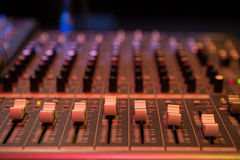 Professional mixing console for audio recording. Stock Image