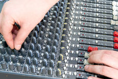 Professional mixing console in studio. Royalty Free Stock Images
