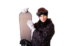 Professional model with snowboard. Stock Images