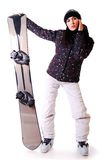 Professional model with snowboard. Royalty Free Stock Images