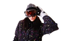 Professional model with snowboard. Stock Image