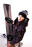 Professional model with snowboard. Royalty Free Stock Image