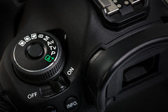 Professional modern DSLR camera - detail of the top LCD Stock Image