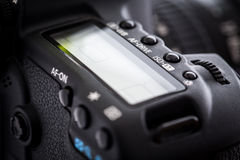 Professional modern DSLR camera - detail of the top LCD Royalty Free Stock Photography