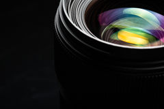 Professional modern DSLR camera lense ow key image Stock Photos