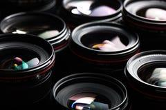 Professional modern DSLR camera llense low key image Royalty Free Stock Photos