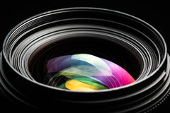 Professional modern DSLR camera llense low key image Royalty Free Stock Images