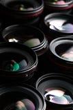 Professional modern DSLR camera llense ow key image Stock Photos