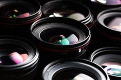 Professional modern DSLR camera llense ow key image Stock Photography