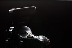 Professional modern DSLR camera low key image Royalty Free Stock Photos