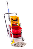Professional mop bucket over white Royalty Free Stock Photography