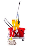 Professional mop bucket on white Royalty Free Stock Image