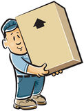 Professional mover. In uniform holding a cardboard box Stock Image