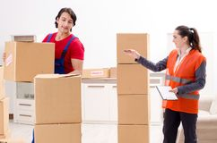 The professional movers doing home relocation royalty free stock photos