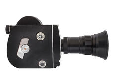 Professional movie camera on 16mm film, isolated on white background Stock Images