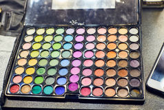 Professional multicolour eyeshadows palette, close up royalty free stock photo
