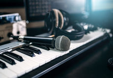 Professional music studio equipment, closeup Royalty Free Stock Photography