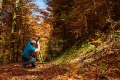 Professional photographer shooting autumn colors Stock Photography