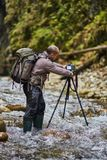 Professional nature photographer in the gorge Stock Photos