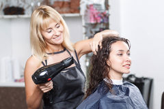 Professional nice hairdresser holding hairdryer Royalty Free Stock Photos