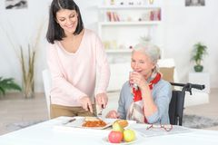 Professional nurse feeding older lady royalty free stock photos