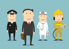 Professional occupation characters. People profession. Professional occupation human characters. Policeman, doctor, fireman, lawyer in uniform. People Stock Photography