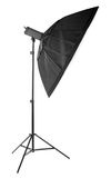 Professional octobox isolated on a white background. Studio lightning for professional photography. A new octobox on a tripod. Stock Photo