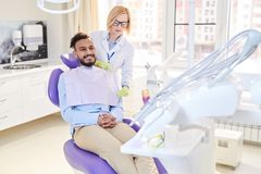 Treatment Preparations at Dental Office royalty free stock image