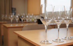 Professional oenology school. Classroom with wineglasses Royalty Free Stock Photo
