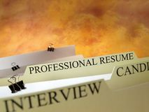 Professional offer. Professional resume, organizing filing system, close-up. Room for text Stock Images