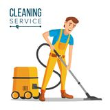Office Cleaner Vector. Work Wiping, Dusting, Vacuuming Floor Carpets.. Professional Office Cleaner Vector. Janitor With Cleaning Equipment. Flat Cartoon Stock Photos