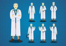 The professional old doctors all action character design set Royalty Free Stock Photo
