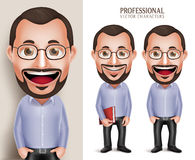 Professional Old Teacher Professor Man Vector Character Holding Book Stock Photo