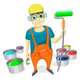 Professional Painter with Paint Brush, roller Stock Photo