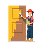 Professional painter painting door in yellow color. Flat style modern vector illustration Stock Image