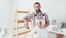 Professional painter posing stock photos