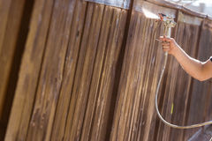 Professional Painter Spraying Yard Fence with Stain Royalty Free Stock Image