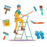 Classic Painter Vector. Painting Wall With Brush. House Painter With Paintbrush. Royalty Free Stock Photo