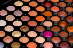 Professional palette of colored eyeshadows, close-up. Stock Photos