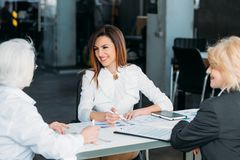 Professional partnership successful business women. Professional collaboration and partnership. Corporate meeting. Successful business women discussing project royalty free stock images