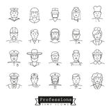 Professional people avatar line icon collection. Collection of 25 professional people avatar  line icons Stock Photo