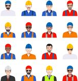 Professional people concept. Set of different colorful profession man flat style icons isolated on white background: worker, build Royalty Free Stock Photography