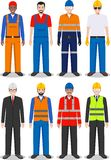 Professional people concept. Set of different detailed illustration of worker, builder and engineer in flat style on. Detailed illustration of worker, builder Stock Image