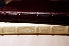 Professional photo album leather covers Stock Images
